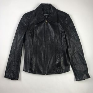 GUESS Womens Leather Jacket Black Zip Up S
